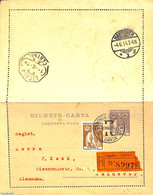 Angola 1914 Reply Paid Postcard 2.5c, Uprated To Registered Mail To Germany, (Used Postal Stationary), Stamps - Angola