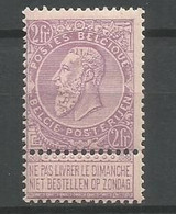 Timbre  Belgique En Neuf **  N 67  Violet S. Blanc - 1893-1800 Fijne Baard
