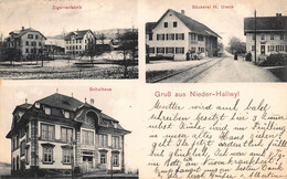 NIEDER HALLWY NIEDERHASLI ZURICH SWITZERLAND~ZIGARRENFABRIK-BACKEREI-H URECH~SCHULHAUS~1910 PHOTO POSTCARD 51094 - ZH Zurich