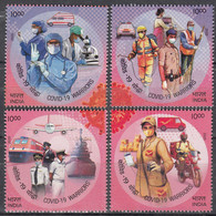 INDIA 2020 Salute To COVID-19 WARRIORS, PANDEMIC, Disease,Health, Set 4v Complete MNH(**) - Nuevos