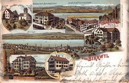 BIRRWYL SWITZERLAND~RESTAURANT BAHNHOF-POST-PFARRHAUS-KIRCHE-TOTALANSICHT-TABAK FABRIK~1903 MULTI IMAGE POSTCARD 51097 - AG Argovie