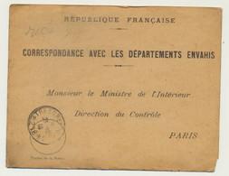 Correspondance Avec Les Départements Envahis 1918 - Guerra De 1914-18
