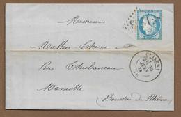 CUISERY  : 1874 :  GC 1253  + Cachet à Date Type 17  ( Saône Et Loire ) : - 1849-1876: Periodo Classico