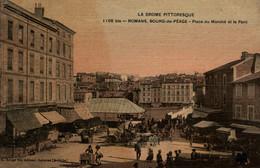 Bourg De Péage (Drôme) Place Du Marché Et Le Pont - Edition C. Artige Fils, Carte Colorisée, Toilée, Vernie N° 1106 Bis - Altri Comuni
