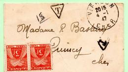 France, Taxe, Carte Visite Non Affranchie, 4.1.1947, Correspondance Incluse - 1921-1960: Modern Period