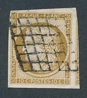 """DX-231: FRANCE: Lot Avec """"CERES"""" N°1 Obl Grille, 1 Voisin - 1849-1850 Ceres"""