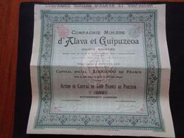 ESPAGNE - PAYS BASQUES - CIE MINIERE D'ALAVA & GUIPUZCOA - ACTION DE CAPITAL DE 500 FRS - BRUXELLES 1898 - Non Classés