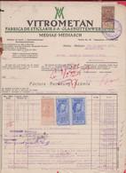 257780 /  Romania 1927 - 30+3+3 Lei Revenue Fiscaux Bulgaria 20 Leva , Vitrometan Fabrica De Sticlarie - Mediaș Mediasch - Otros