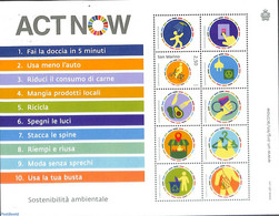 San Marino 2020 Act Now S/s, Joint Issue UNO, (Mint NH), Environment - Nuovi