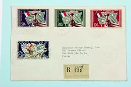 Lettre Recommandée 1958 Lomé Pour New-York, Affr. 375 F ,Poste Aerienne YT 24 à 27 - Covers & Documents