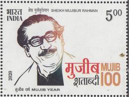 INDIA 2020,SHEIKH MUJIBUR RAHMAN,  Eminent Leader Of Liberation Of BANGLADESH. 1v Complete, MNH(**) - Nuevos