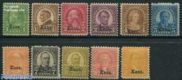 United States Of America 1929 Kans. Overprints 11v, (Unused (hinged)), Stamps - Ongebruikt