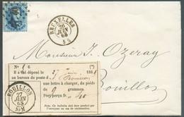 N°15A - Médaillon 20 Centimes Bleu Obl. LP.60 Sur Lettre DeBRUXELLESle 26 Juin 1865 Avec L'étiquette De La Preuve Du C - 1863-1864 Medaillen (13/16)