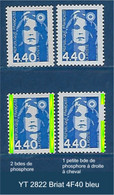 """FR Variété YT 2822 """" Briat 4F40 Bleu """" Voir Détail - Variétés: 1990-99 Neufs"""