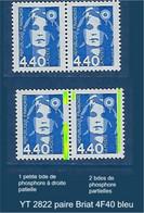 """FR Variété YT 2822 Paire """" Briat 4F40 Bleu """" Voir Détail - Variétés: 1990-99 Neufs"""