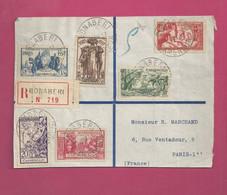 Devant De Lettre Recommandée De 1937 Pour La France. YT N° 153 à 158 - Exposition Internationale De Paris - Storia Postale