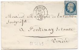 LT5249   N°10a Bleu Foncé/Enveloppe, Oblit PC 1730 Limoges, Haute-Vienne (81) Pour Fontenay-le-Compte, Vendée (79) - 1852 Luis-Napoléon