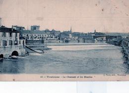 TOULOUSE: Rare Cliché De 1908 La Chaussée Du Port Garaud(pont St Michel),et Les Batiments Des Moulins,editeur J.Picot - Toulouse