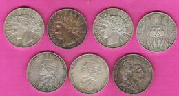 Lot De 7 Monnaies Françaises 100 Francs Argent Lafayette Fraternité Charlemagne Marie Curie - N. 100 Francs