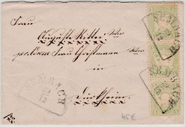 Bayern 1 Kr. Wappen Gez. Senkr. 3er-Streifen Brief HKS Sembach 29/12 N. Dürkheim - Bavaria