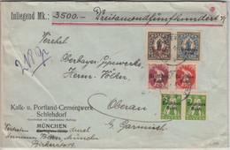DR-Infla - 2 1/2 M. By-Abschied/DR Ua. Wertbrief München Oberau B. Garmisch 1920 - Cartas