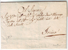 CAVALLINI 15 C Sur SUPERBE LETTRE Datee De Carolina Le 22 Novembre 1826 Pour Turin - ...-1850 Préphilatélie