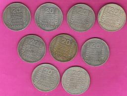 Lot De 9 Monnaies Françaises 20 Francs Argent Turin Gadoury 852 - L. 20 Francs