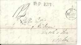 Paris Pour LONDRES. Par Estafette. LEttre En Port Payé De 1834. Peu Courant (POTHION 2764) . Indice 21=600euros - 1801-1848: Precursors XIX