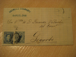 Barcelona 1876 To SEGORBE Castellon 2 Stamps ( 10 Cts + War Tax 5 Cts ) On Cancel Cover Letter SPAIN - Cartas