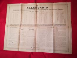 CALENDARI - SCUOLE - CALENDARIO ANNO SCOLASTICO 1887/88 - PROVINCIA DI BRESCIA - BRESCIA- CM 56 X  76 - Big : ...-1900