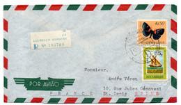 MOZAMBIQUE -- 1960--Lettre Recommandée De Lourenço Marques Pour St Denis (France)..timbre Papillon+ Voilier - Mozambique