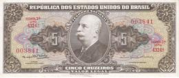 BILLETE DE BRASIL DE 5 CRUZEIROS DEL AÑO 1953-59 EN CALIDAD EBC (XF) (BANK NOTE) - Brazil