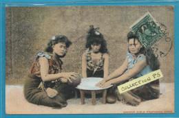 Océanie**** Samoa - Samoan Girls Preparing Kawa  (timbrée Oblitérée 1907 -colorisée) - Samoa