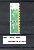 Variété Paire De 2008 Neuf** Y&T N° 4229d Bande Droite à Cheval - Variedades: 2000-09 Nuevos