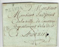 LAC Marque Postale Lineaire 29X11 Noir 12/6/1811 Huissier Imperiale Aussonce 08 Rethel Juniville Vers Louvain 5 De Port - 1801-1848: Precursors XIX