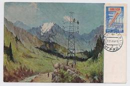 CARTE MAXIMUM CM Card USSR RUSSIA Art Painting Electricity Line High-altitude Mountain - Cartoline Maximum