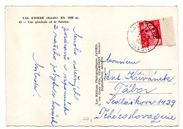 1952--tp Marianne De Gandon 18F Seul Sur Carte Postale Val D'Isère Destinée Tchécoslovaquie--Beau Cachet  VAL D'ISERE-73 - 1921-1960: Moderne