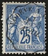 YT 79 (°) Obl SAGE 25c Bleu Convoyeur Lodève Hérault (type II Inv Sous U) – B2otti - 1876-1898 Sage (Type II)