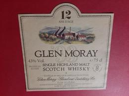 ETIQUETTE  ANCIENNE / GLEN MORAY / SINGLE HIGHLAND MALT SCOTCH WHISKY 12 ANS D' AGE 43% Vol .  / DOS SCANNE - Whisky