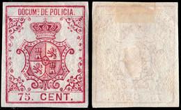 DEPENDENCIAS ESPAÑOLAS 1865 Sello Fiscal (DOCUMs DE POLICIA) 75c Carm√≠n - Cuba (1874-1898)