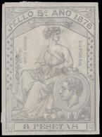 ESPAGNE / SPAIN / ESPAÑA Fiscales 1876 - Póliza Sello 5° 8 Pts - (faults) - Fiscales