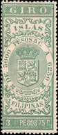 PHILIPPINES / FILIPINAS - Sello Fiscal (GIRO) 3P75 Verde Amarillo - Nuevo** - Philippines