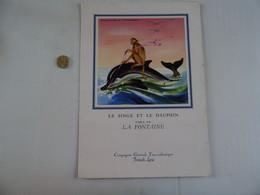 MENU 1959 COMPAGNIE GENERALE TRANSATLANTIQUE French Line Paquebot  (FLANDRE) LE SINGE ET LE DAUPHIN De LA FONTAINE - Menus