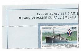 DA4 Polynésie 2020 ** Ralliement à La France Libre Navire Ville D'Amiens / Ship WW 2 - Nuevos
