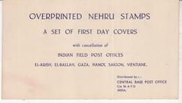 Packing Board Of Ovpt Nehru Stamps FDC, APO El-Arish, El-Ballah, Gaza, Hanoi, Saigon, Vietnam, Army, Defence, - Military Service Stamp