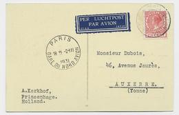 NEDERLAND  7 1/2C SOLO CARTE AVION POUR AUXERRE YONNE + PARIS GARE DU NORD AVION 2.III.1931 - Air Post