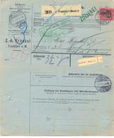 ALLEMAGNE BULLETIN EXPEDITION COLIS PAKETKARTE – Z.A. FRÄNKEL FRANKFURT 23.11.05 – BASELL B.B. – ZOLLEFREI - Cartas