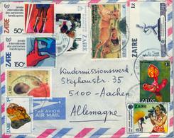 1987 ZAIRE , SOBRE CIRCULADO , KINSHASA , FAUNA , TURISMO , DISCAPACITADOS , RELIGION - Other