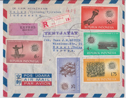 Indonésie Lettre Exprès Timbre Tir à L'Arc Tertjatat Tjiledug Tjirebon Indonesia Stamp Express Air Mail Cover Basel - Tiro Al Arco