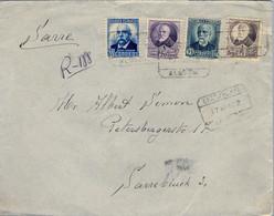 1932 , ALMERIA - SARRE , SOBRE CERTIFICADO , LLEGADA AL DORSO - Cartas